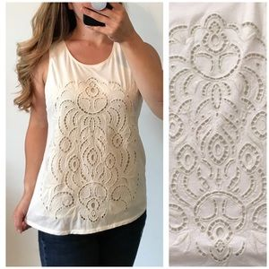 J.CREW Cream Lace Embroidered Front Tank Medium